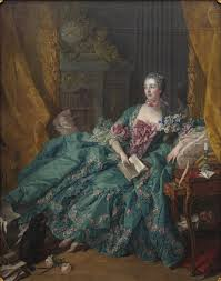 Cuadro de Madame de Pompadour recostada con un libro