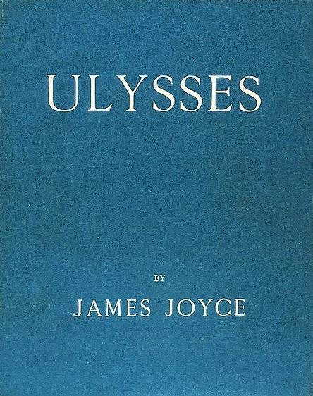 Portada de Ulises de James Joyce con el azul de la bandera de Grecia. Fuente: Wikipedia