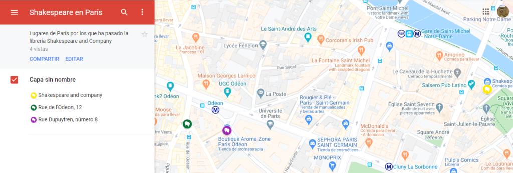 """Mapa de las ubicaciones de la librería """"Shakespeare and Company"""" en París en sus 100 años de vida"""